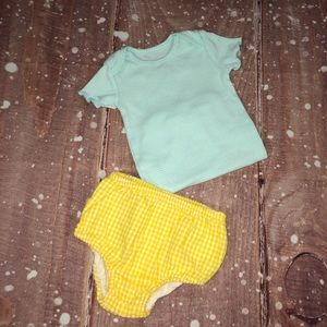 Ralph Lauren Matching Sets - Ralph Lauren Yellow Diaper Cover Outfit 9M Girls